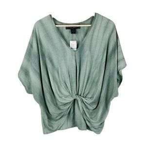 Polly & Esther Green Bat Winged Knot Top Size M